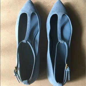🆕AUTHENTIC TORY BURCH LT BLUE ASHTON SUEDE FLATS